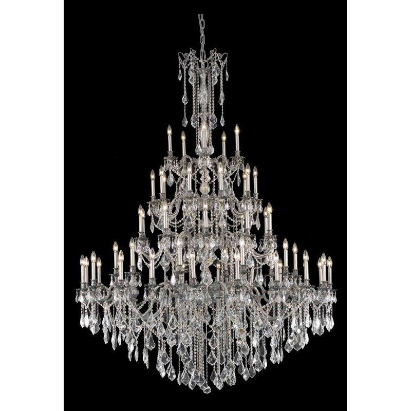 Elegant Lighting Rosalia 55 Light Pewter Chandelier Clear Royal Cut Crystal (9255G64Pw/RC)