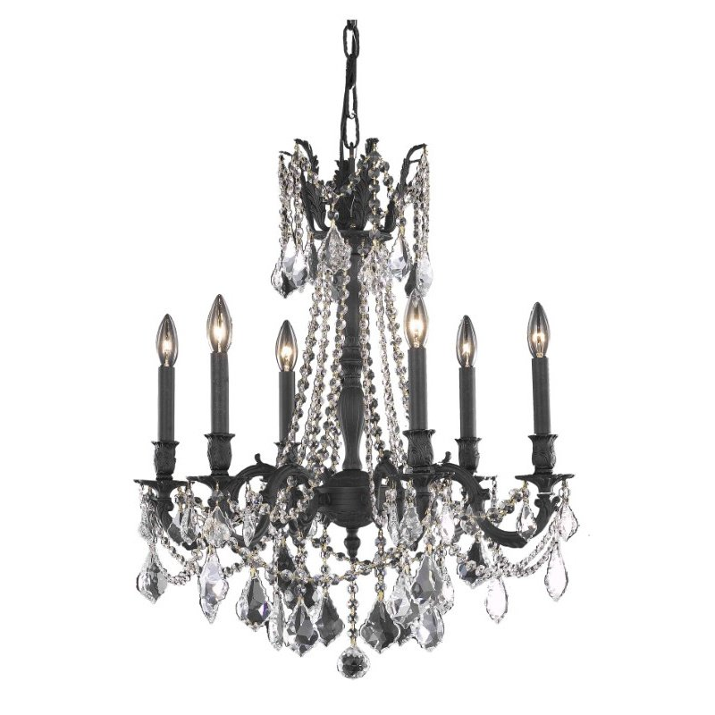 Elegant Lighting Rosalia 6 Light Dark Bronze Chandelier Clear Royal Cut Crystal (9206D23DB/RC)