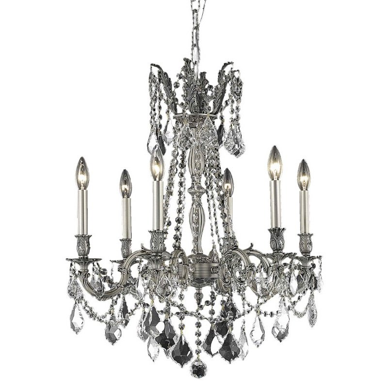 Elegant Lighting Rosalia 6 Light Pewter Chandelier Clear Spectra Swarovski Crystal (9206D23Pw/SA)