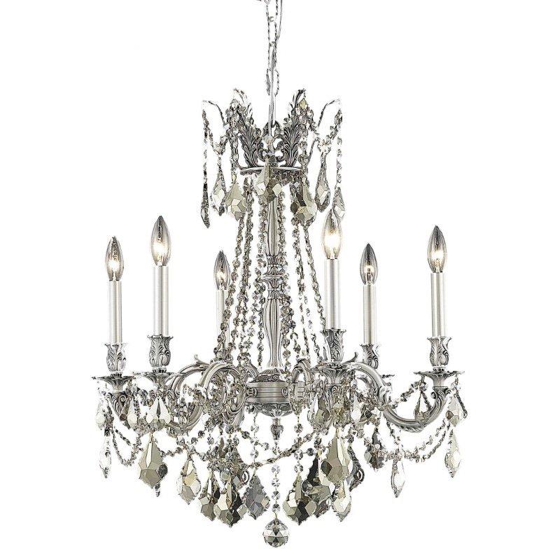 Elegant Lighting Rosalia 6 Light Pewter Chandelier Golden Teak (Smoky) Royal Cut Crystal (9206D23PW-GT/RC)