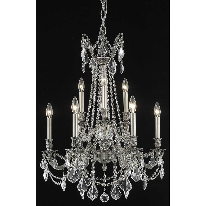 Elegant Lighting Rosalia 9 Light Pewter Chandelier Clear Royal Cut Crystal (9209D23Pw/RC)