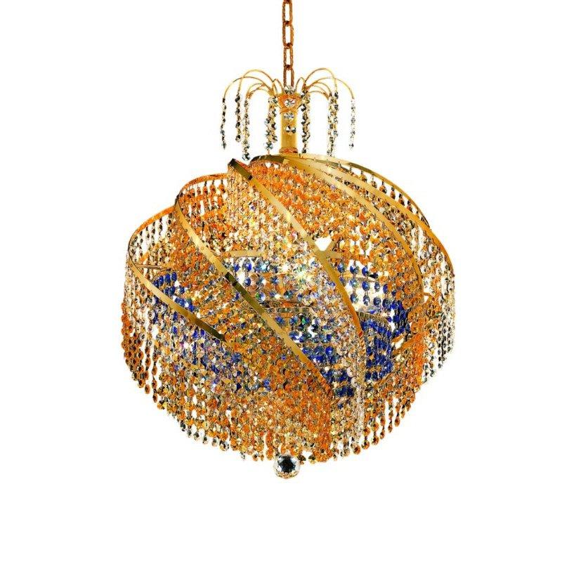 Elegant Lighting Spiral 10 Light Gold Chandelier clear Royal Cut Crystal (8053D22G/RC)