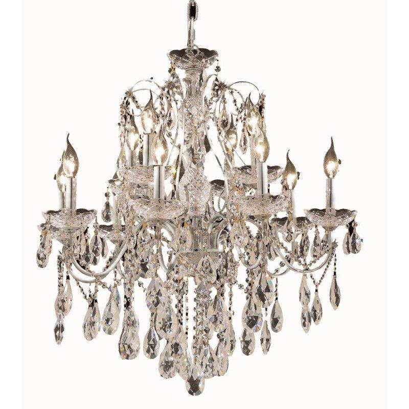 Elegant Lighting St. Francis 12 Light Chrome Chandelier Clear Swarovski Elements Crystal (2016D28C/SS)