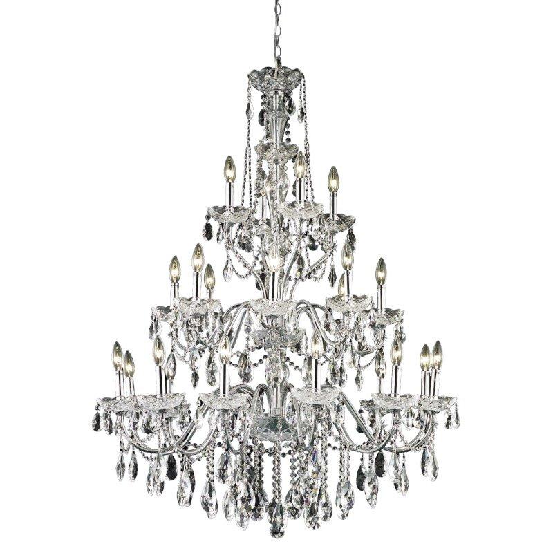Elegant Lighting St. Francis 24 Light Chrome Chandelier Clear Elegant Cut Crystal (2016G36C/EC)