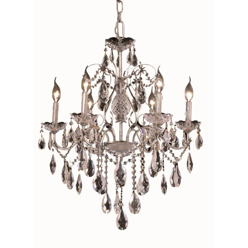 Elegant Lighting St. Francis 6 Light Chrome Chandelier Clear Elegant Cut Crystal (2016D24C/EC)