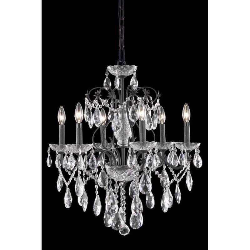 Elegant Lighting St. Francis 6 Light Dark Bronze Chandelier Clear Elegant Cut Crystal (2016D24DB/EC)