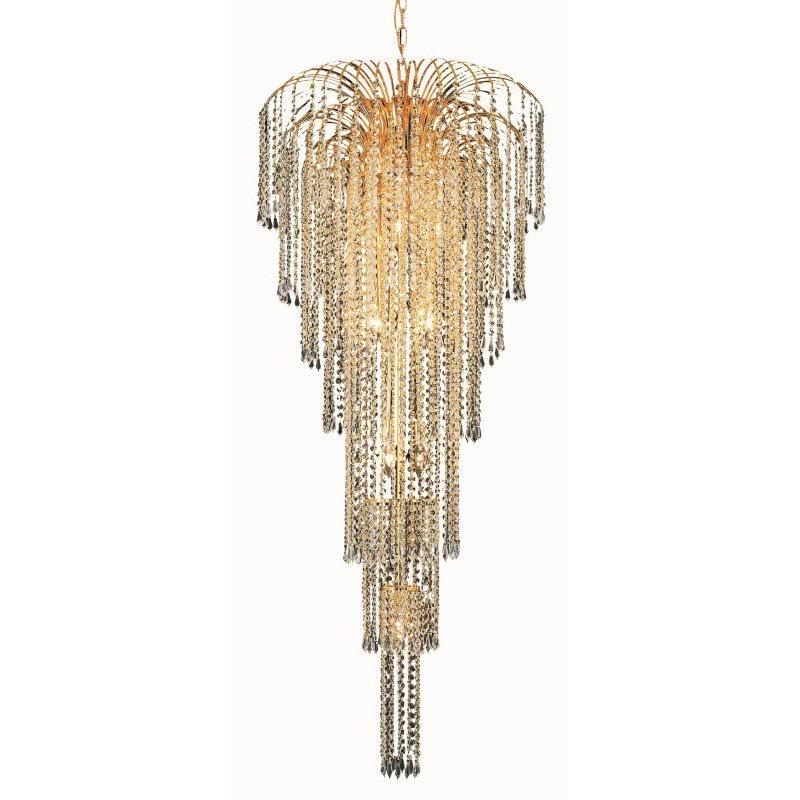 Elegant Lighting Value 2 Falls 11 Light Gold Chandelier Clear Swarovski Elements Crystal (V6801G25G/SS)