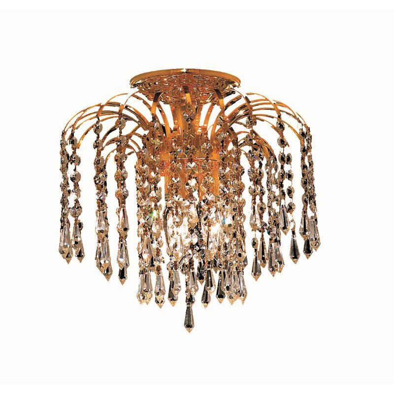 Elegant Lighting Value 2 Falls 3 Light Gold Flush Mount Clear Swarovski Elements Crystal (V6801F12G/SS)