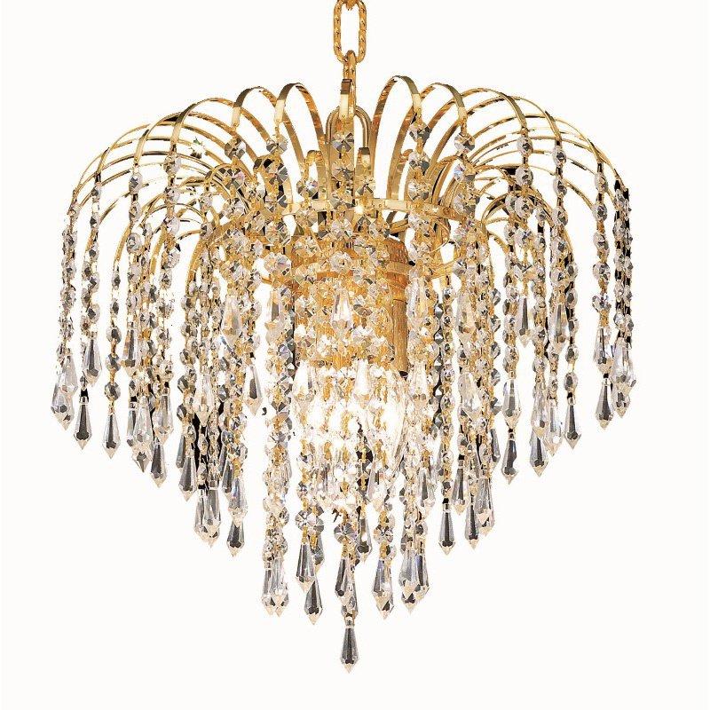 Elegant Lighting Value 2 Falls 3 Light Gold Pendant Clear Elegant Cut Crystal (V6801D14G/EC)