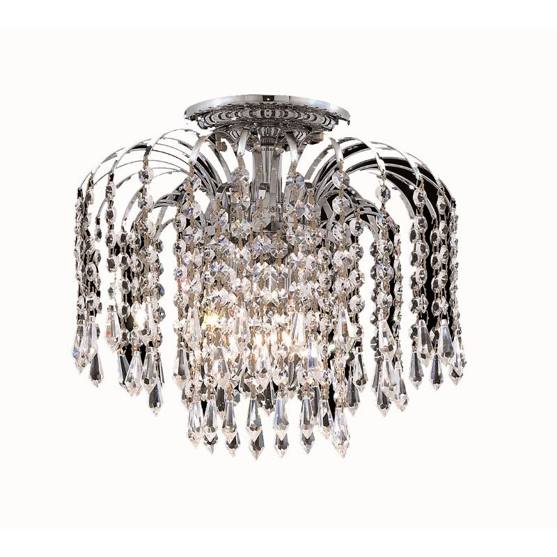 Elegant Lighting Value 2 Falls 4 Light Chrome Flush Mount Clear Elegant Cut Crystal (V6801F16C/EC)