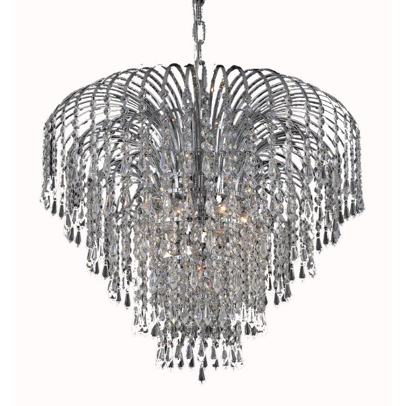 Elegant Lighting Value 2 Falls 6 Light Chrome Chandelier Clear Spectra Swarovski Crystal (V6801D25C/SA)