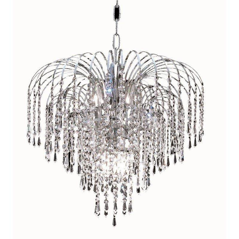 Elegant Lighting Value 2 Falls 6 Light Chrome Pendant Clear Royal Cut Crystal (V6801D19C/RC)
