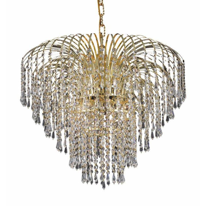 Elegant Lighting Value 2 Falls 6 Light Gold Chandelier Clear Swarovski Elements Crystal (V6801D25G/SS)