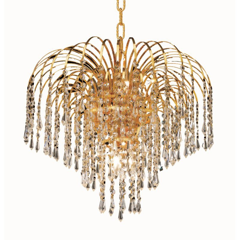 Elegant Lighting Value 2 Falls 6 Light Gold Pendant Clear Elegant Cut Crystal (V6801D19G/EC)