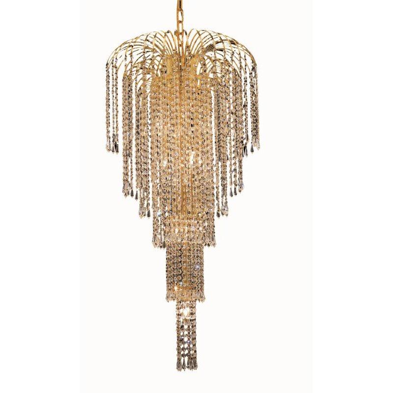 Elegant Lighting Value 2 Falls 9 Light Gold Chandelier Clear Elegant Cut Crystal (V6801G19G/EC)