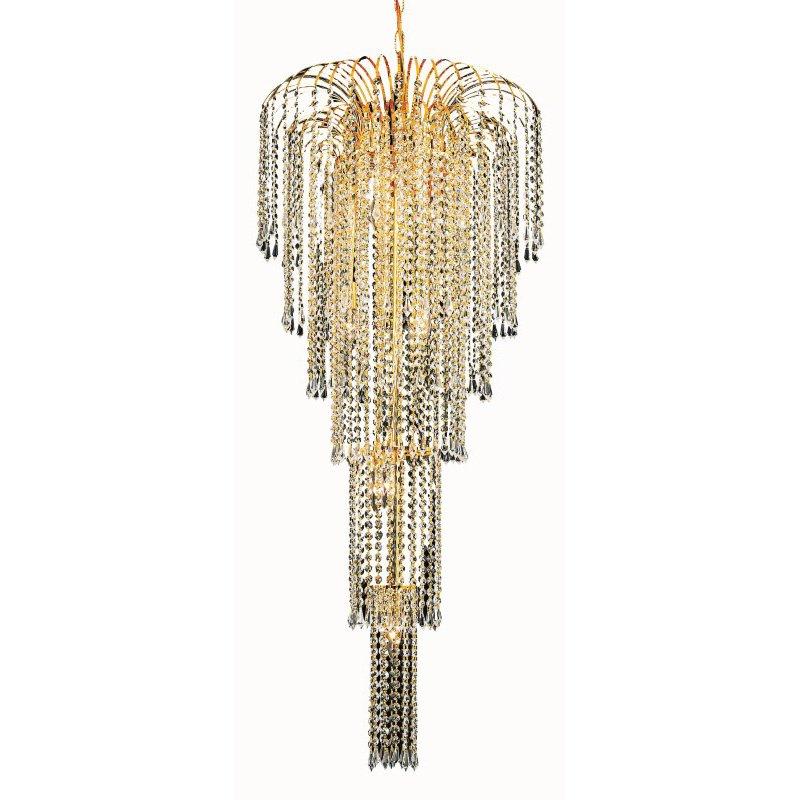 Elegant Lighting Value 2 Falls 9 Light Gold Chandelier Clear Spectra Swarovski Crystal (V6801G21G/SA)