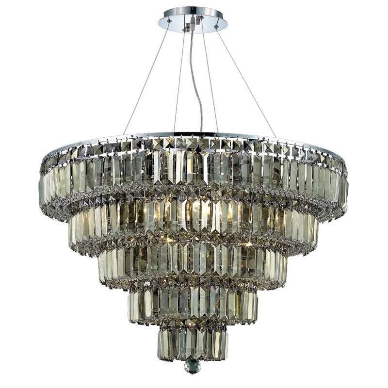 Elegant Lighting Value 2 Maxime 17 Light Chrome Chandelier Golden Teak (Smoky) Royal Cut Crystal (V2036D30C-GT/RC)