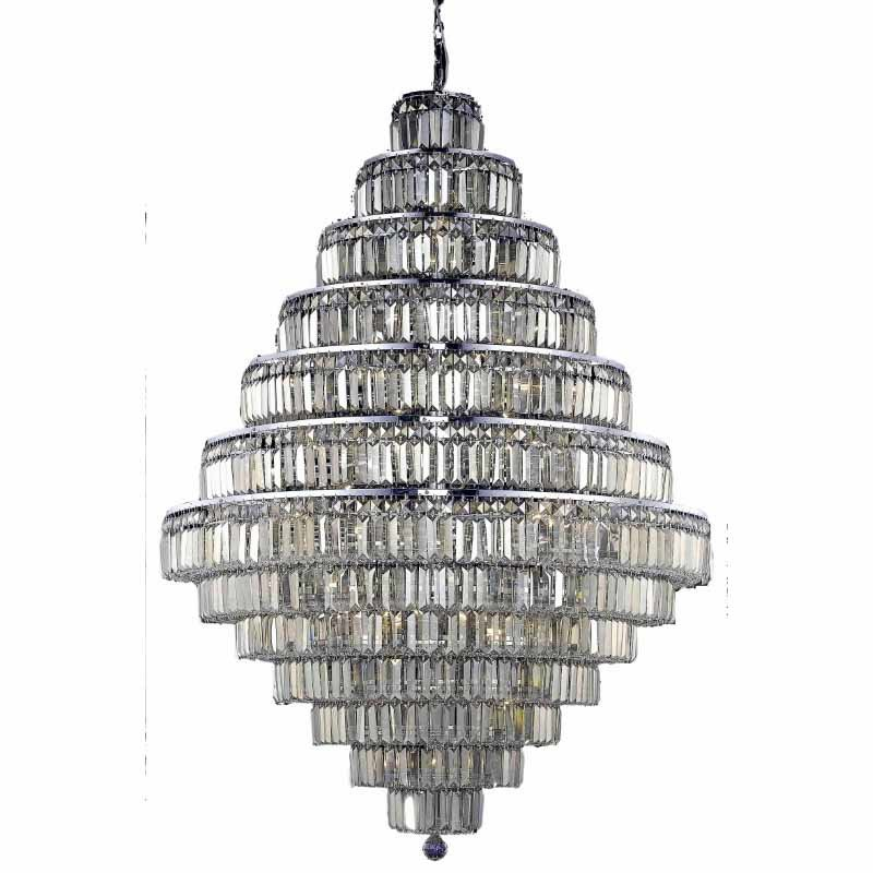 Elegant Lighting Value 2 Maxime 38 Light Chrome Chandelier Golden Teak (Smoky) Royal Cut Crystal (V2038G42C-GT/RC)