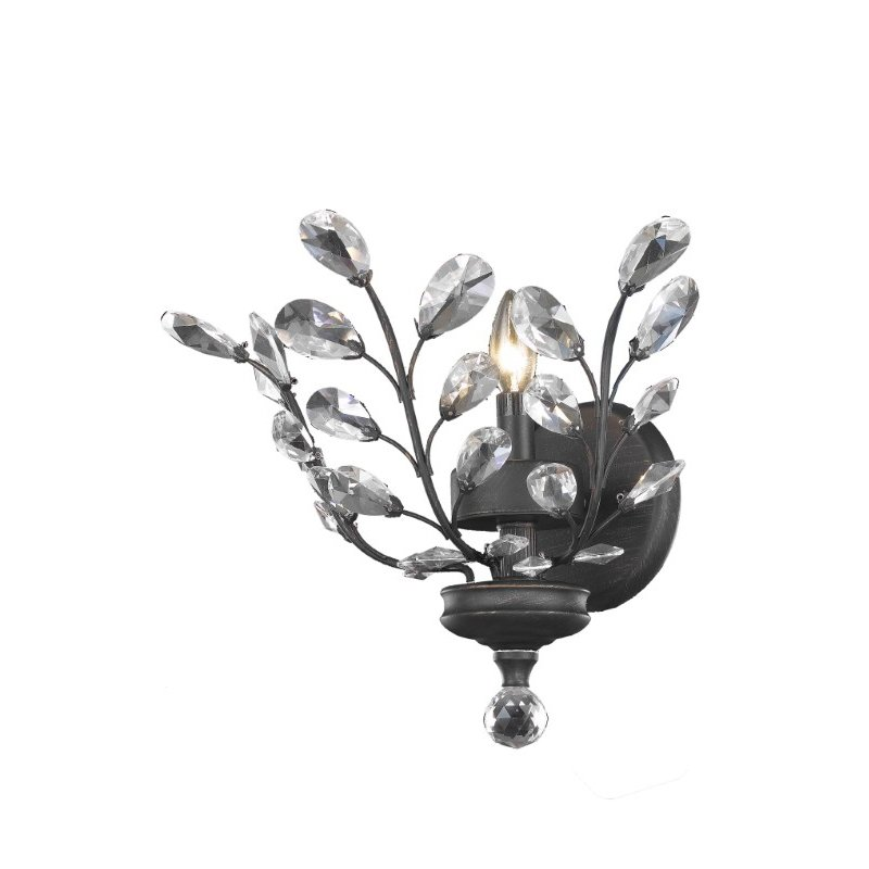 Elegant Lighting Value 2 Orchid 1 Light Dark Bronze Wall Sconce Clear Spectra Swarovski Crystal (V2011W16DB/SA)