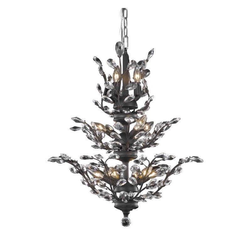 Elegant Lighting Value 2 Orchid 13 Light Dark Bronze Chandelier Clear Elegant Cut Crystal (V2011D27DB/EC)