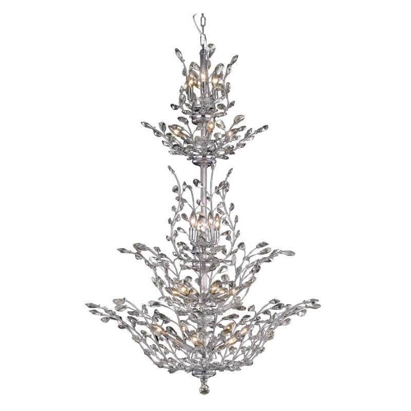 Elegant Lighting Value 2 Orchid 25 Light Chrome Chandelier Clear Swarovski Elements Crystal (V2011G54C/SS)