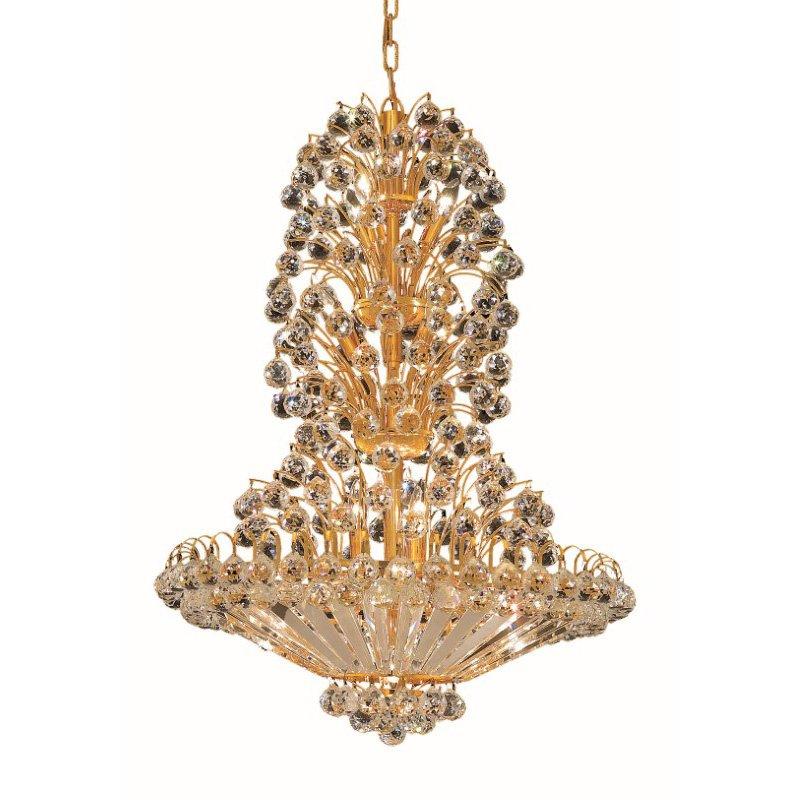 Elegant Lighting Value 2 Sirius 22 Light Gold Chandelier Clear Royal Cut Crystal (V2908D28G/RC)