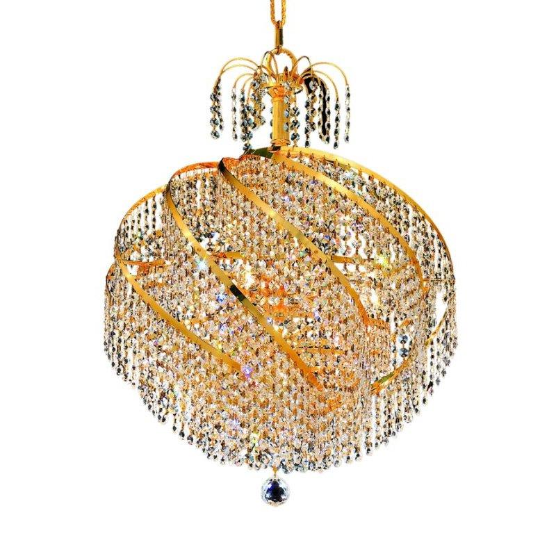 Elegant Lighting Value 2 Spiral 10 Light Gold Chandelier Clear Swarovski Elements Crystal (V8052D22G/SS)