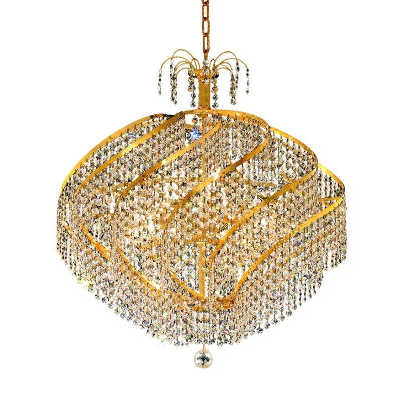 Elegant Lighting Value 2 Spiral 15 Light Gold Chandelier Clear Royal Cut Crystal (V8052D26G/RC)