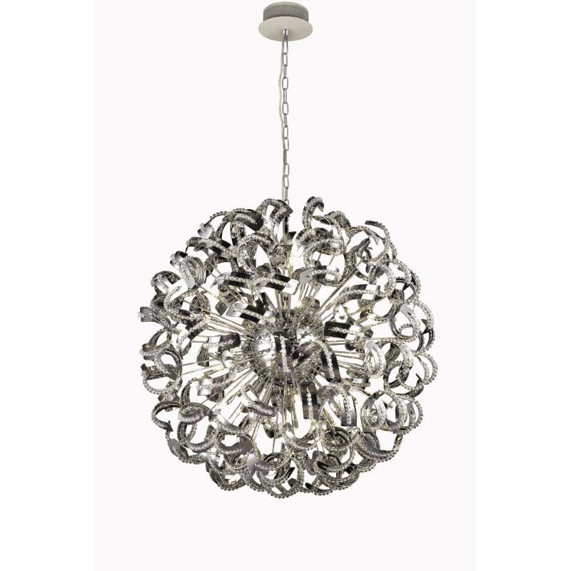 Elegant Lighting Value 2 Tiffany 30 Light Chrome Chandelier Clear Elegant Cut Crystal (V2068G43C/EC)