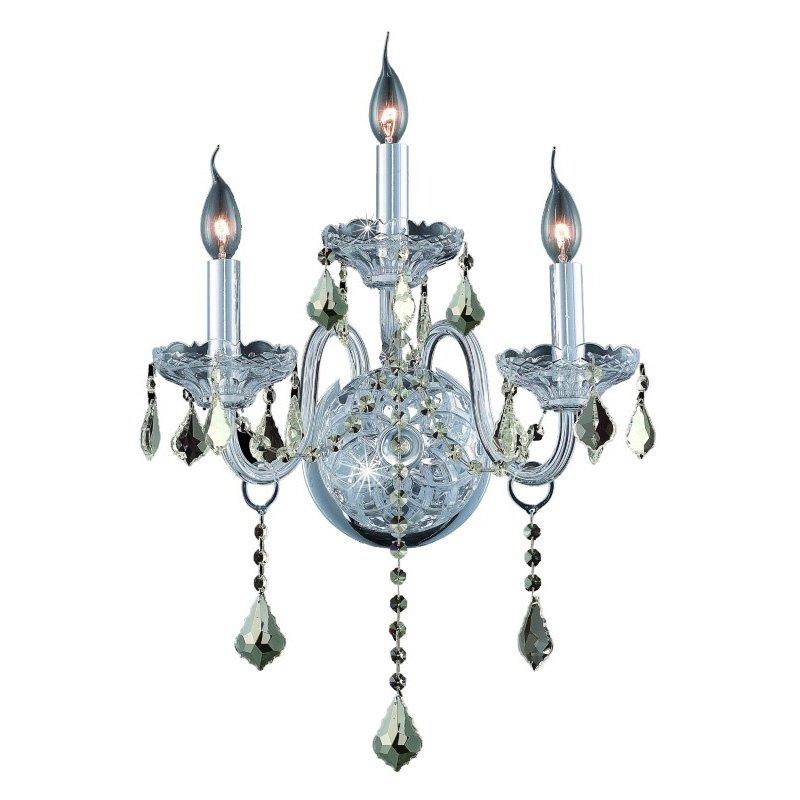 Elegant Lighting Value 2 Verona 3 Light Chrome Wall Sconce Golden Teak (Smoky) Royal Cut Crystal (V7853W3C-GT/RC)
