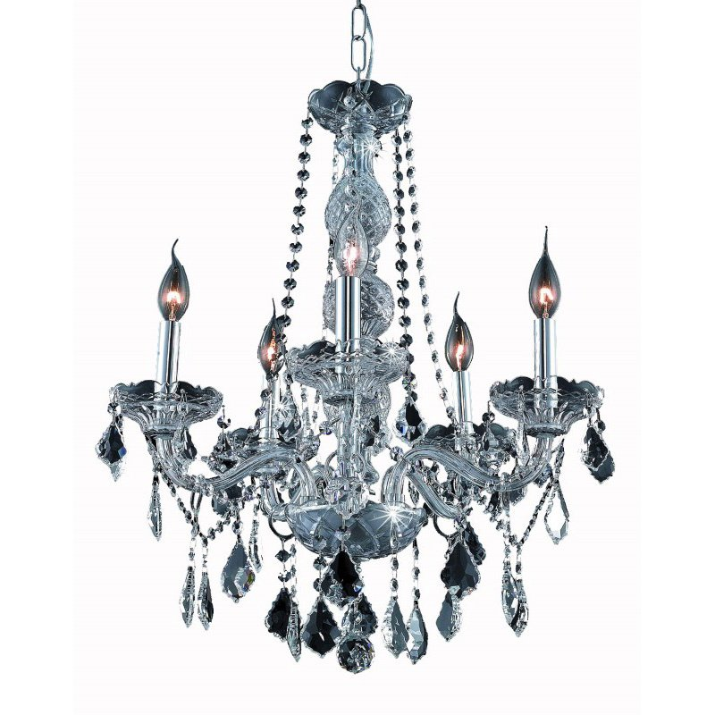 Elegant Lighting Value 2 Verona 5 Light Silver Shade Chandelier Silver Shade (Grey) Royal Cut Crystal (V7855D21SS-SS/RC)