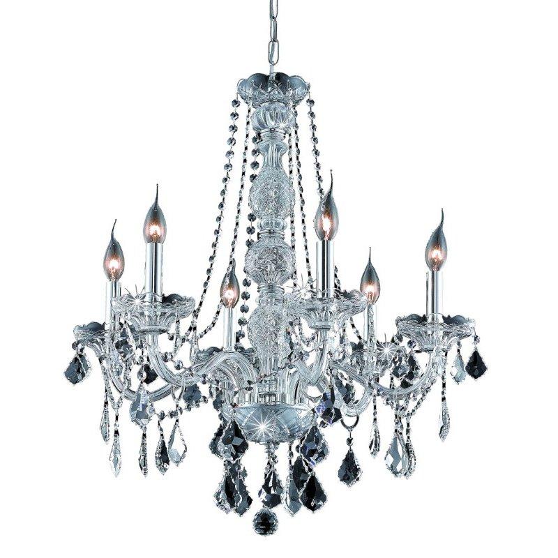 Elegant Lighting Value 2 Verona 6 Light Chrome Chandelier Clear Elegant Cut Crystal (V7856D24C/EC)