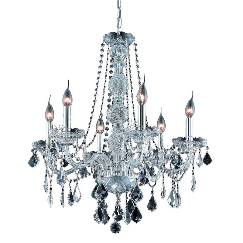 Elegant Lighting Value 2 Verona 6 Light Chrome Chandelier Clear Spectra Swarovski Crystal (V7856D24C/SA)