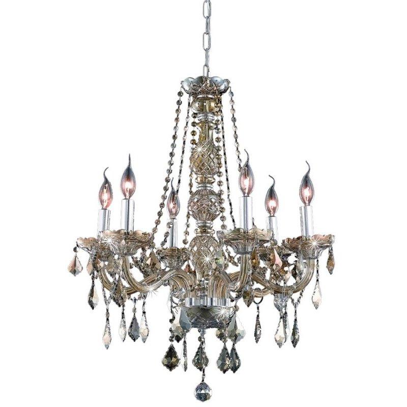 Elegant Lighting Value 2 Verona 6 Light Golden Teak Chandelier Golden Teak (Smoky) Royal Cut Crystal (V7856D24GT-GT/RC)