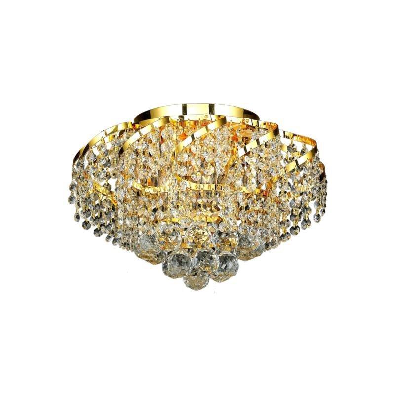 Elegant Lighting Value Belenus 6 Light Gold Flush Mount Clear Spectra Swarovski Crystal (VECA1F16G/SA)