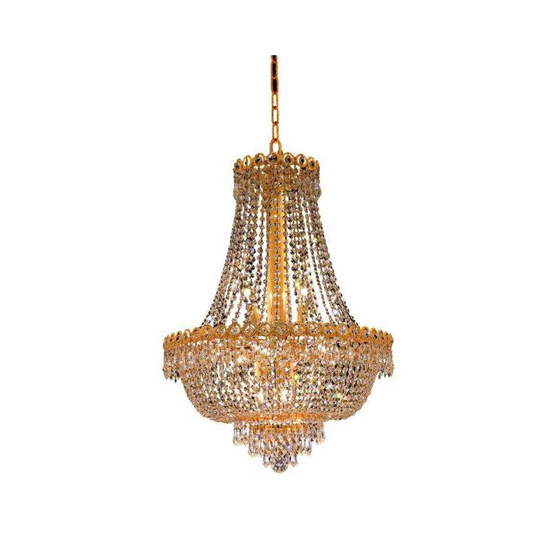 Elegant Lighting Value Century 12 Light Gold Chandelier Clear Swarovski Elements Crystal (V1900D20G/SS)