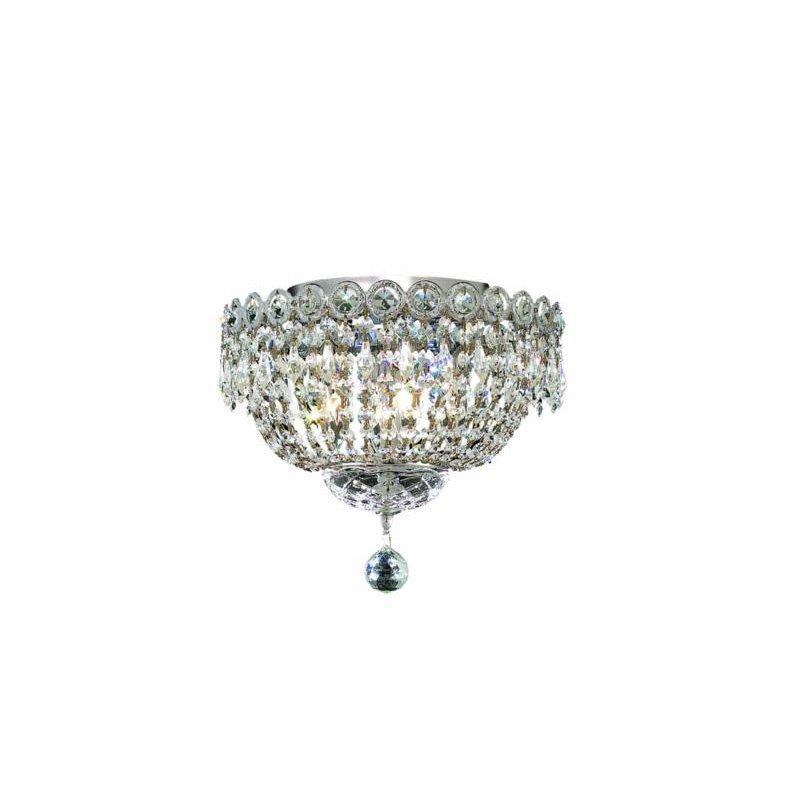 Elegant Lighting Value Century 4 Light Chrome Flush Mount Clear Elegant Cut Crystal (V1900F12C/EC)