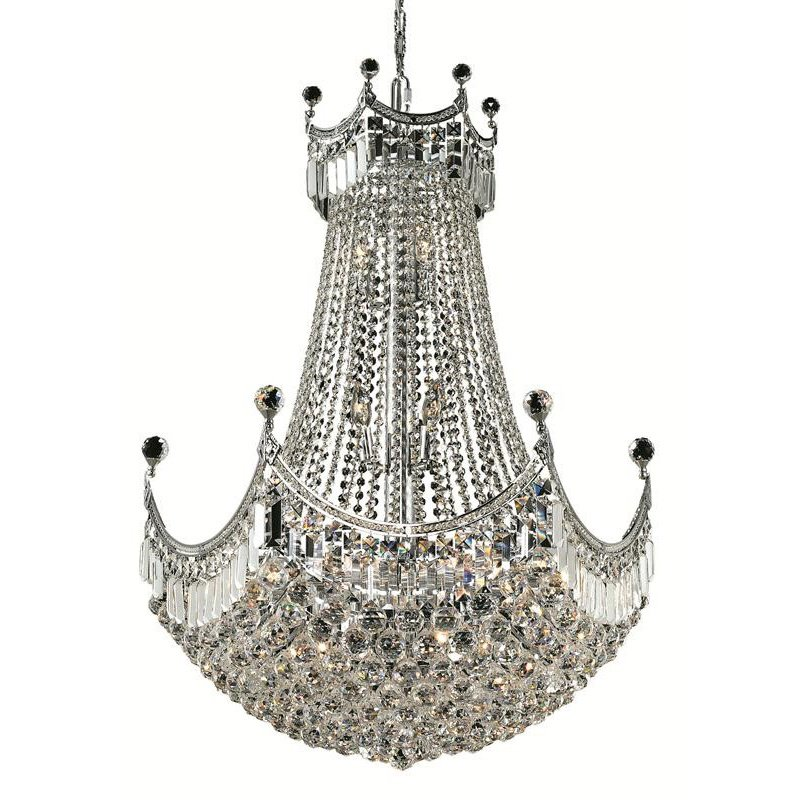 Elegant Lighting Value Corona 24 Light Chrome Chandelier Clear Royal Cut Crystal (V8949D30C/RC)