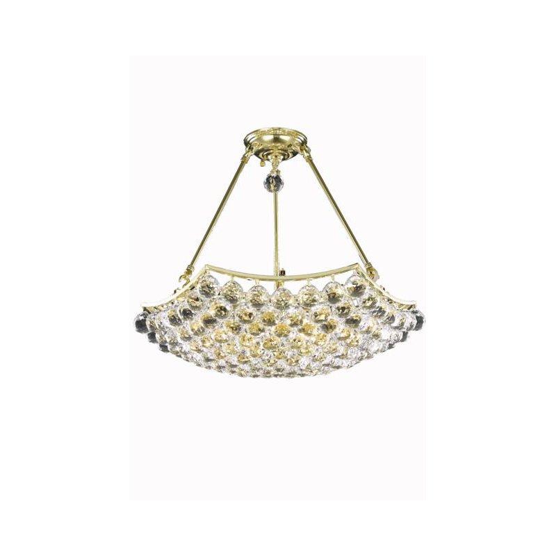 Elegant Lighting Value Corona 6 Light Gold Chandelier Clear Elegant Cut Crystal (V9802D22G/EC)