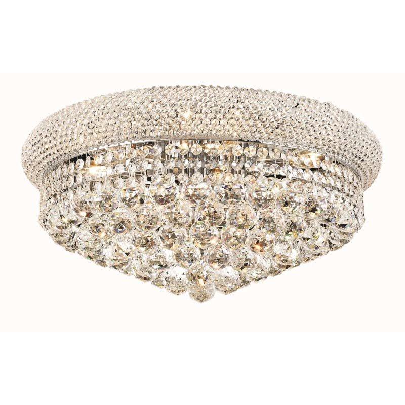Elegant Lighting Value Primo 10 Light Chrome Flush Mount Clear Elegant Cut Crystal (V1800F20C/EC)
