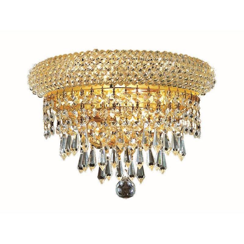 Elegant Lighting Value Primo 2 Light Gold Wall Sconce Clear Spectra Swarovski Crystal (V1802W12G/SA)