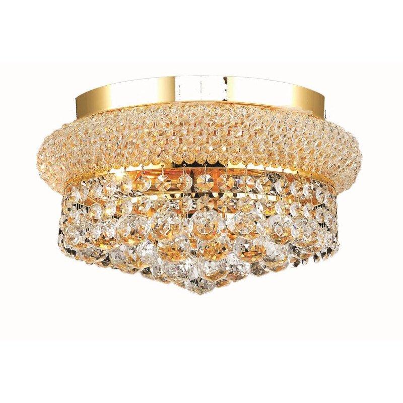 Elegant Lighting Value Primo 4 Light Gold Flush Mount Clear Royal Cut Crystal (V1800F12G/RC)