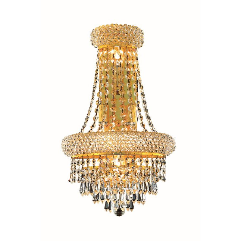 Elegant Lighting Value Primo 4 Light Gold Wall Sconce Clear Swarovski Elements Crystal (V1802W12SG/SS)