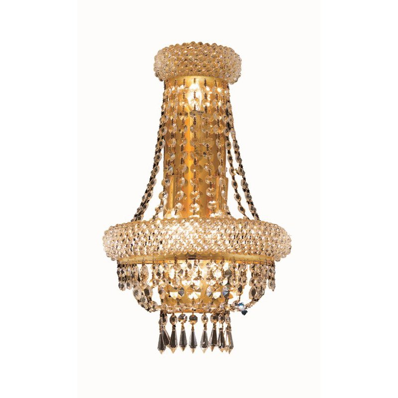 Elegant Lighting Value Primo 4 Light Gold Wall Sconce Clear Swarovski Elements Crystal (V1803W12SG/SS)