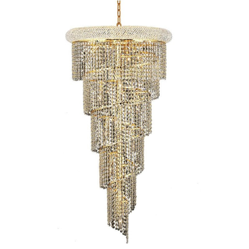 Elegant Lighting Value Spiral 18 Light Gold Chandelier Clear Elegant Cut Crystal (V1801SR22G/EC)