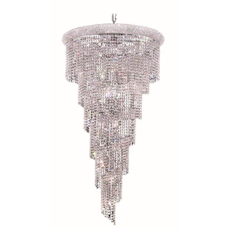 Elegant Lighting Value Spiral 22 Light Chrome Chandelier Clear Elegant Cut Crystal (V1801SR30C/EC)