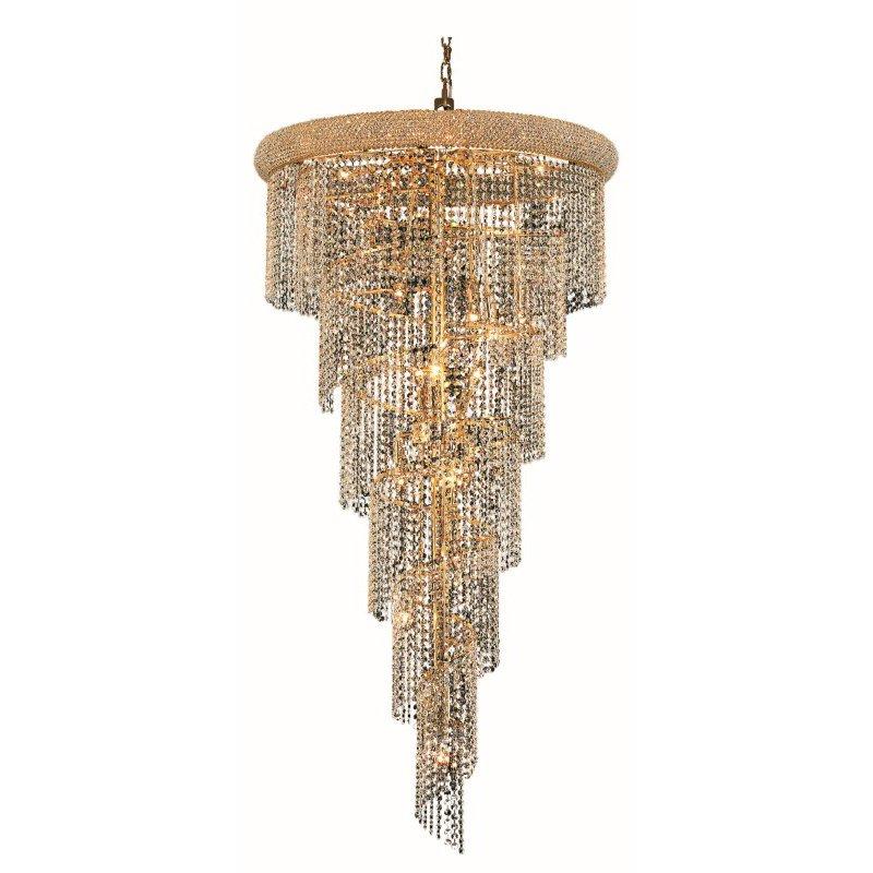 Elegant Lighting Value Spiral 22 Light Gold Chandelier Clear Royal Cut Crystal (V1801SR30G/RC)