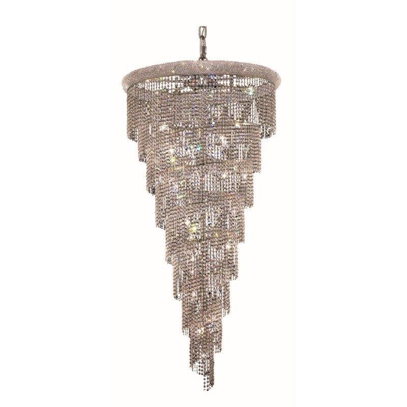Elegant Lighting Value Spiral 26 Light Chrome Chandelier Clear Spectra Swarovski Crystal (V1801SR36C/SA)