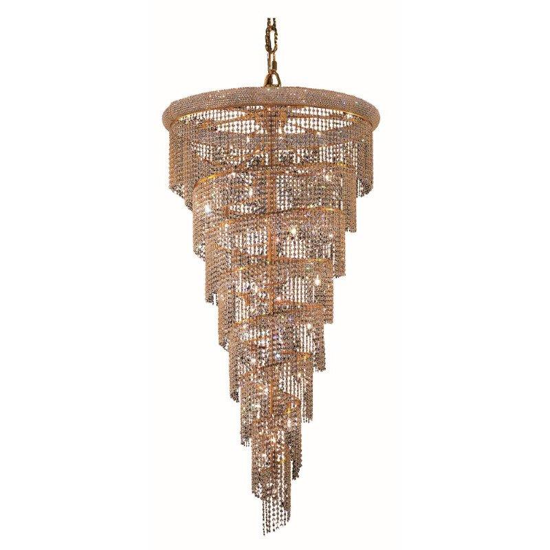 Elegant Lighting Value Spiral 26 Light Gold Chandelier Clear Spectra Swarovski Crystal (V1801SR36G/SA)