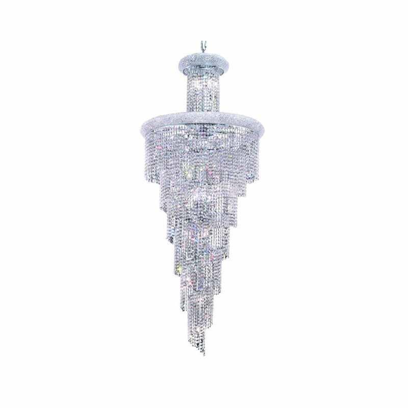 Elegant Lighting Value Spiral 28 Light Chrome Chandelier Clear Royal Cut Crystal (V1800SR30C/RC)